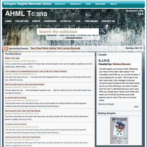 AHML.info home page for Teens site