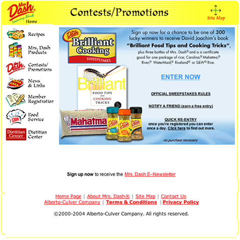 Mrs Dash Brilliant Cooking sweepstakes