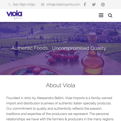 Responsive Website for an Chicago based Italian Import and Distribution business.